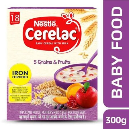 Nestle Cerelac Fortified Baby Cereal with Milk from 18 to 24 Months 5 Grains & Fruits