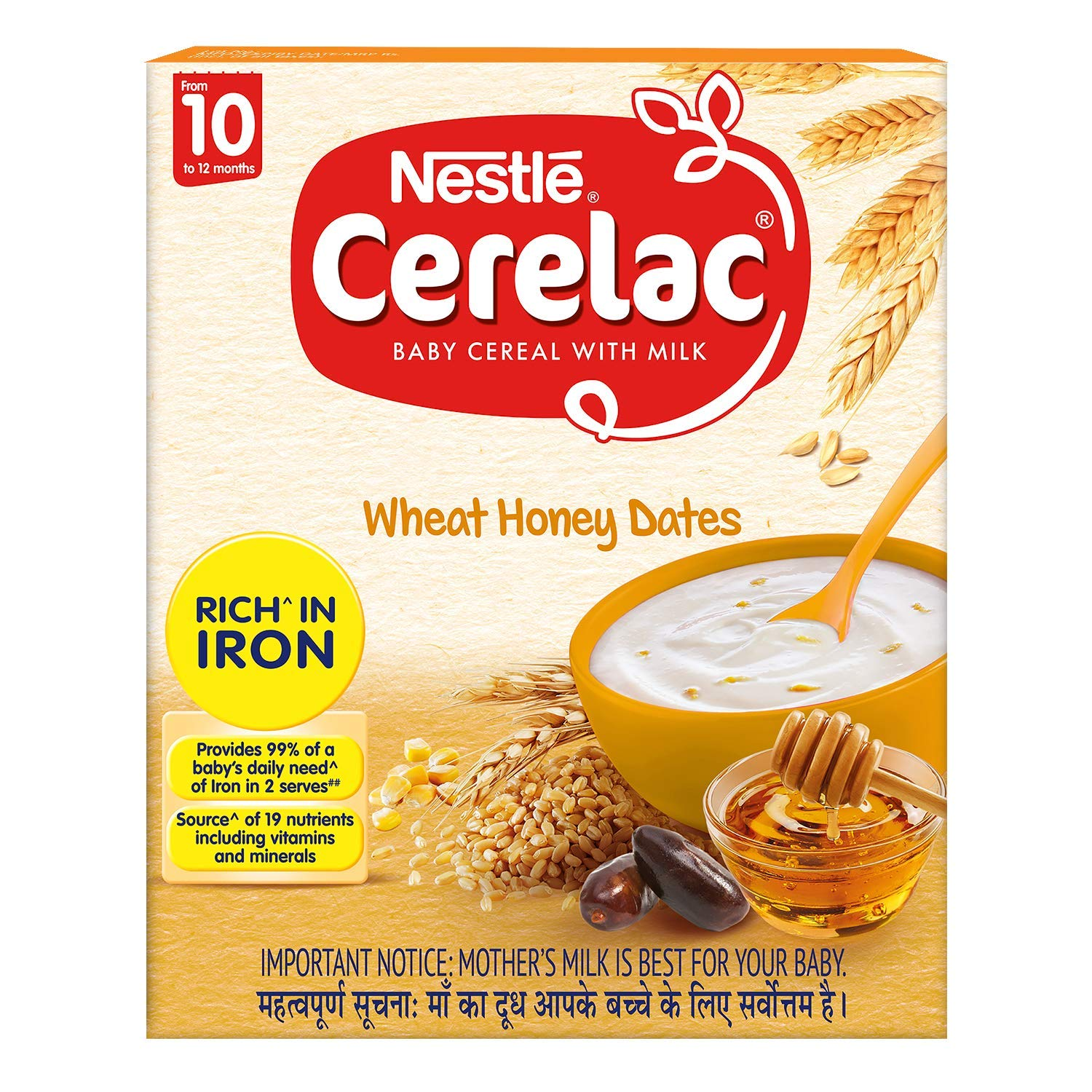 Nestle Cerelac Fortified Baby Cereal with Milk 10 Months+ Wheat Honey Dates